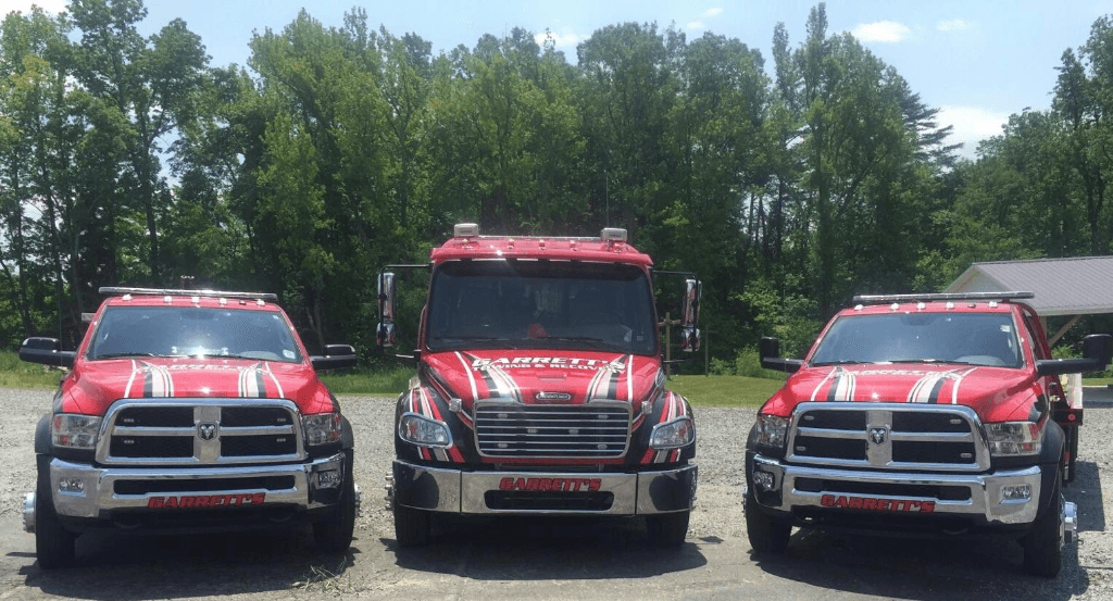 Garrett's Towing Trucks Lined Up
